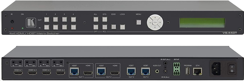Kramer Electronics 4x4 4K60 4:2:0 HDMI/HDBaseT Extended-Reach Poe Matrix Switcher VS-44DT