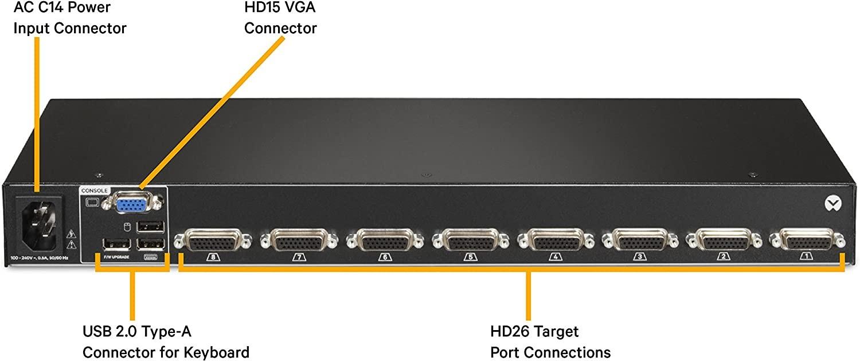 Avocent Vertiv 8-Ports Rack-Mountable 1U Kvm Switch Bundle With Cables AV108BND8-400