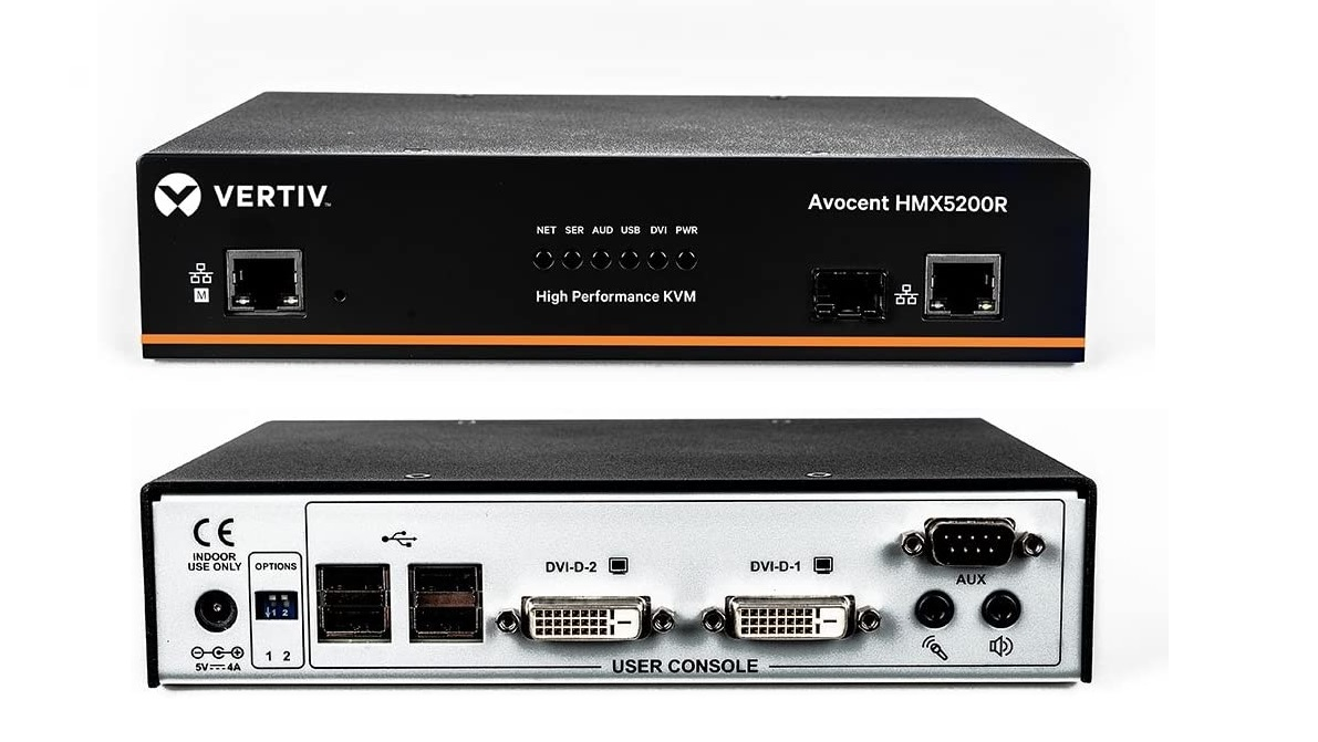 Vertiv Avocent HMX5200R USB 2.0 RX Dual DVI-D Audio SFP IP KVM Receiver HMX5200R-001