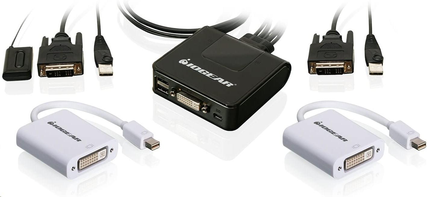 Iogear 2-Ports Dvi And Mini Displayport Cable Kvm Kit GCS922MDPKIT