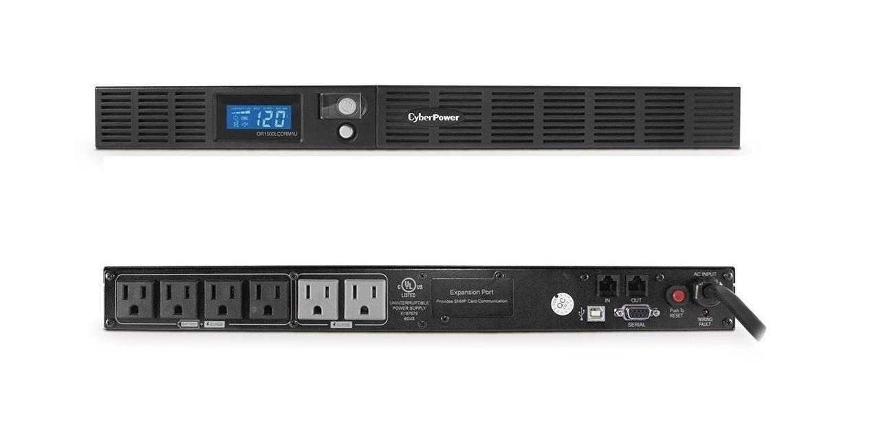 Cyberpower 1500VA 900W 120V Smart APP LCD 1U UPS OR1500LCDRM1U