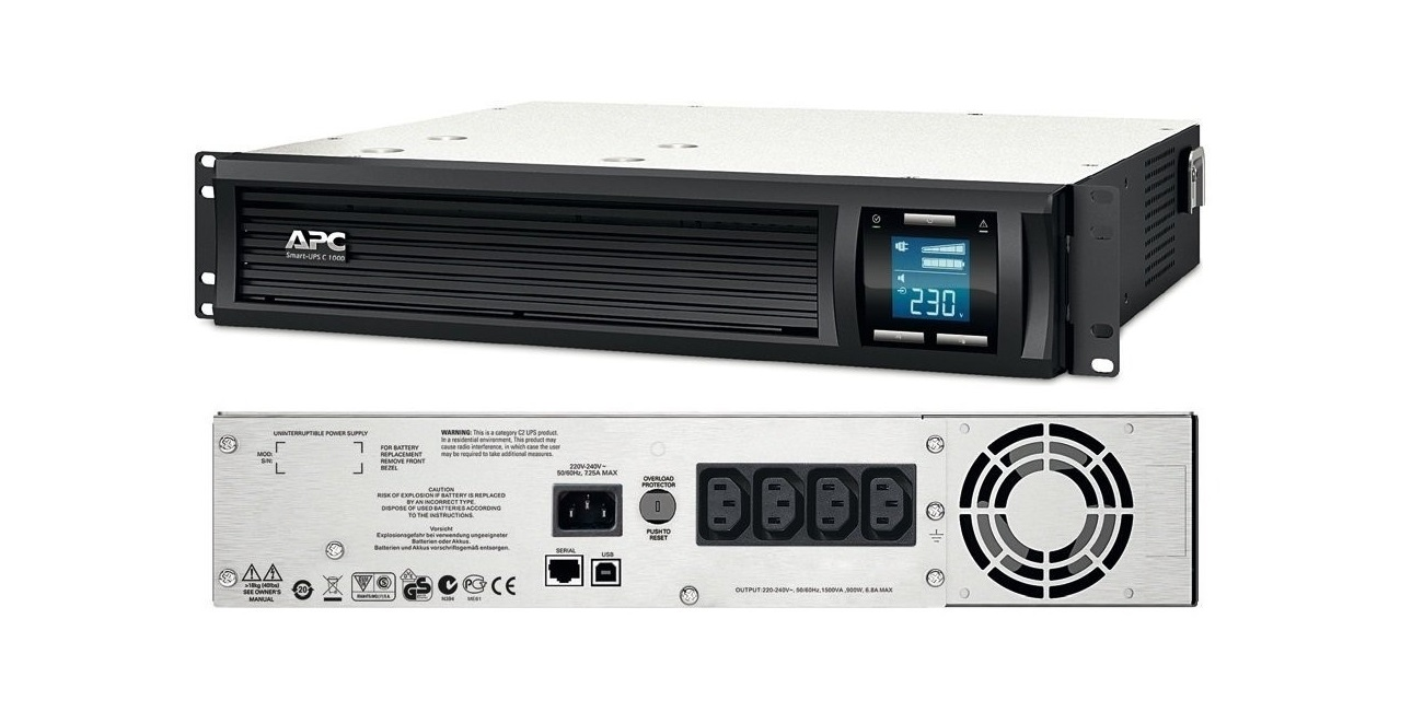 APC Smart-UPS C 1500VA 900W 230V RM 2U Rack Mountable UPS SMC1500I-2U