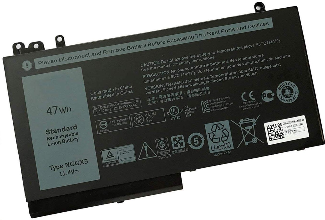 Battery Technology BTI Li-Ion 3-Cell Primary 11.4V 47Whr For Dell Latitude E5270 NGGX5-BTI