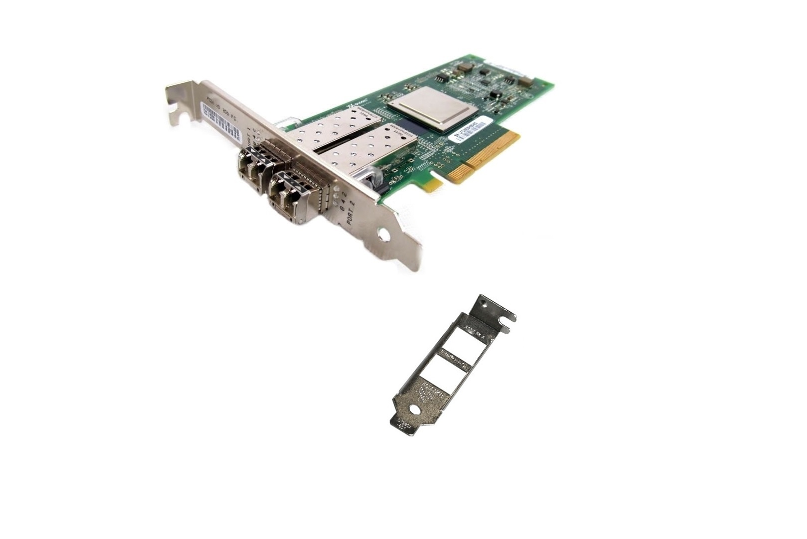 SUN SANblade 8GB Dual Port Fibre PCI-E QLE2562-SUN w/ Transceivers (Both Bracket) 371-4325