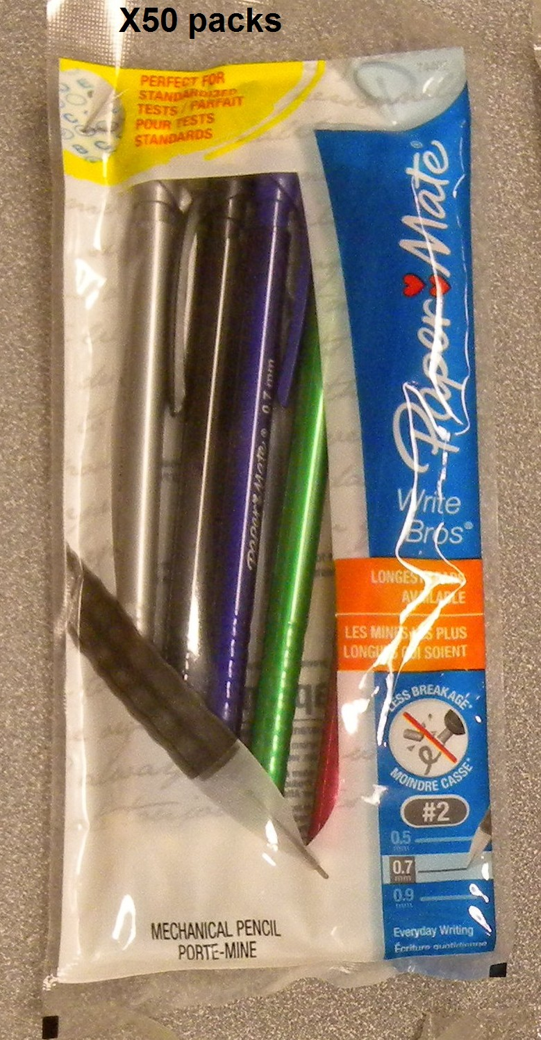 Lot of 50 of 5-Packs Paper Mate Write Bros. 0.7mm Mechanical Pencils Assorted Pencils 74402
