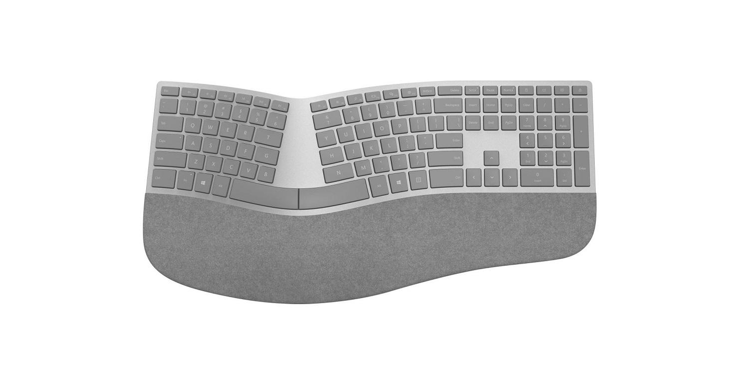 Microsoft 3SQ-00008 Surface Ergonomic Wireless Alcantara Gray Keyboard 3SQ-00008