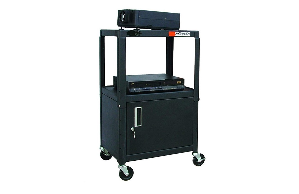 Hamiltonbuhl HACAB4226E A/V Cart Adjustable Height 26 To 42 With Cabinet Steel