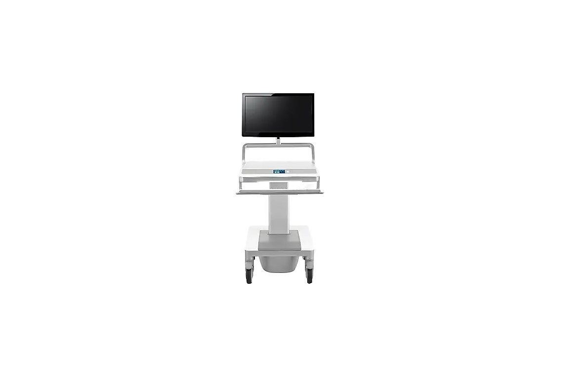 Humanscale T7pc Powered Height Adjustable Medical Cart Aluminum White T74NNLP2P
