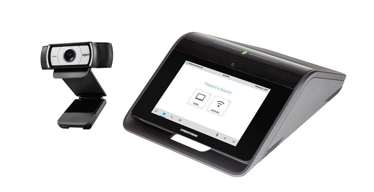 Crestron Mercury Tabletop Audio Conference Console Plus Logitech Webcam C930e CCS-UC-1-AV Retail (Open Box)