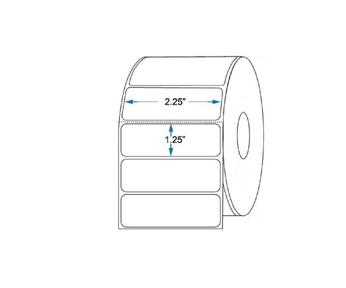 Zebra 10015341 Z-Select 4000D Thermal Label 2.25x1.25 12-Pack (Roll of 2100 Case of 12 Rolls)