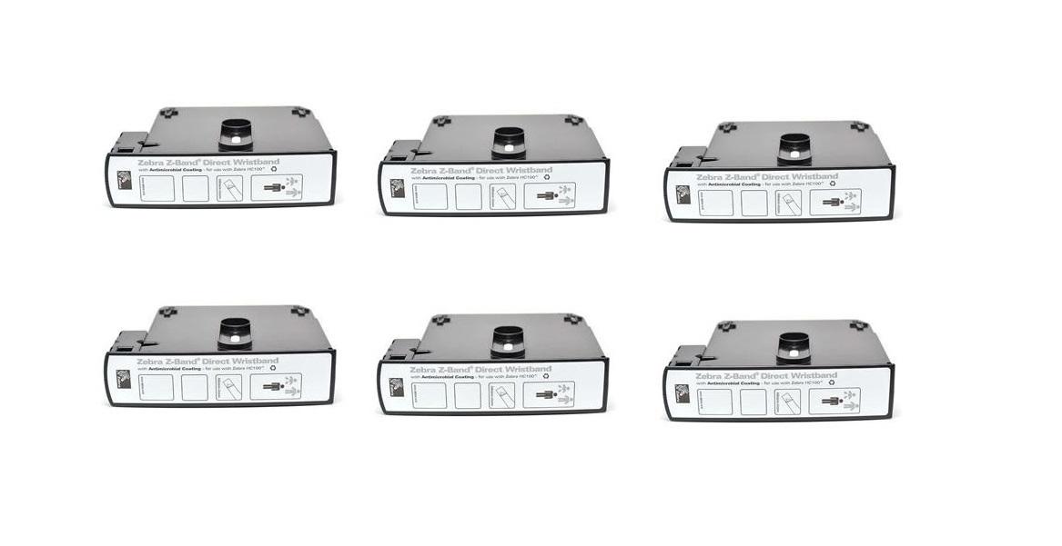 Zebra Z-Band 1 X 7 Z-Band Direct Wristband Cartridge Per Roll-300 6-Pack For HC100 Printers 10006999K