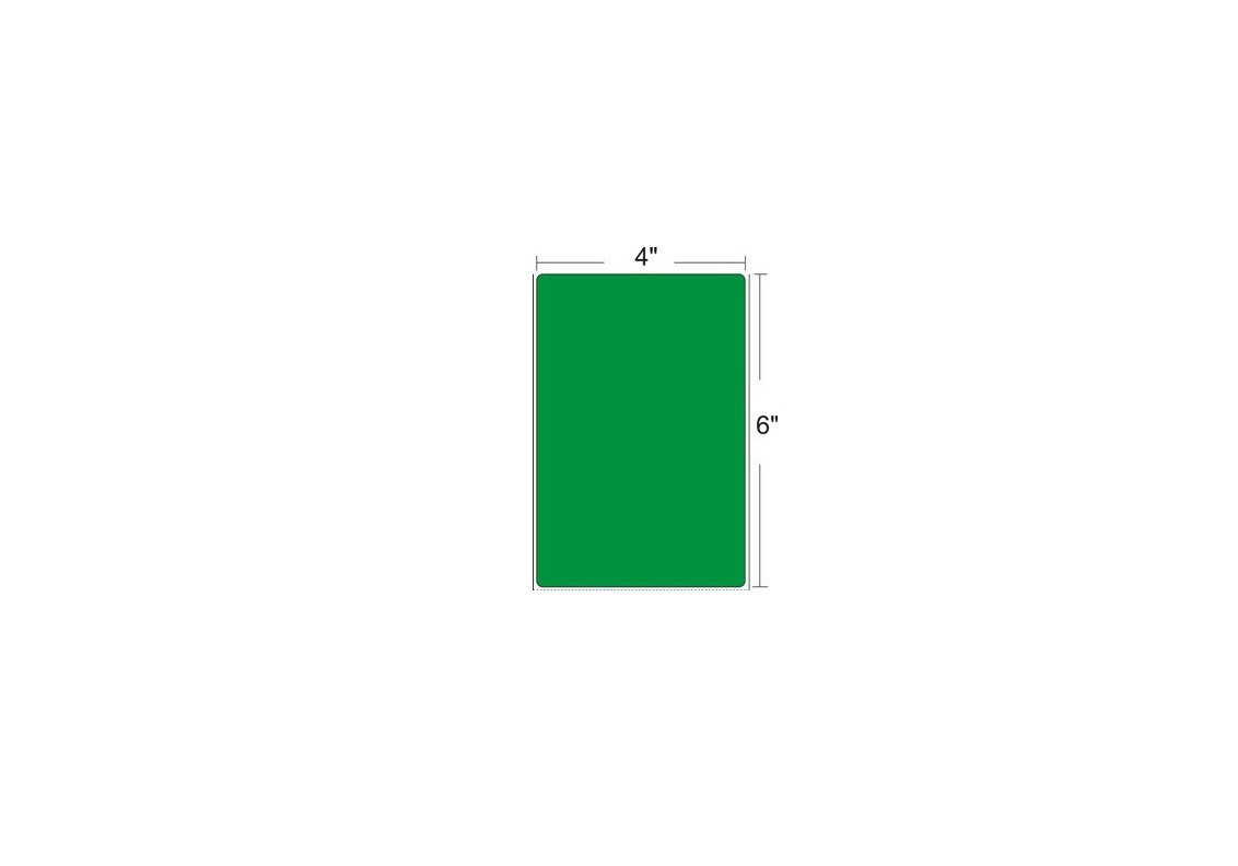 Zebra 10010035-1 4x6 DT Loodcoated Green Paper Label Pack of 6