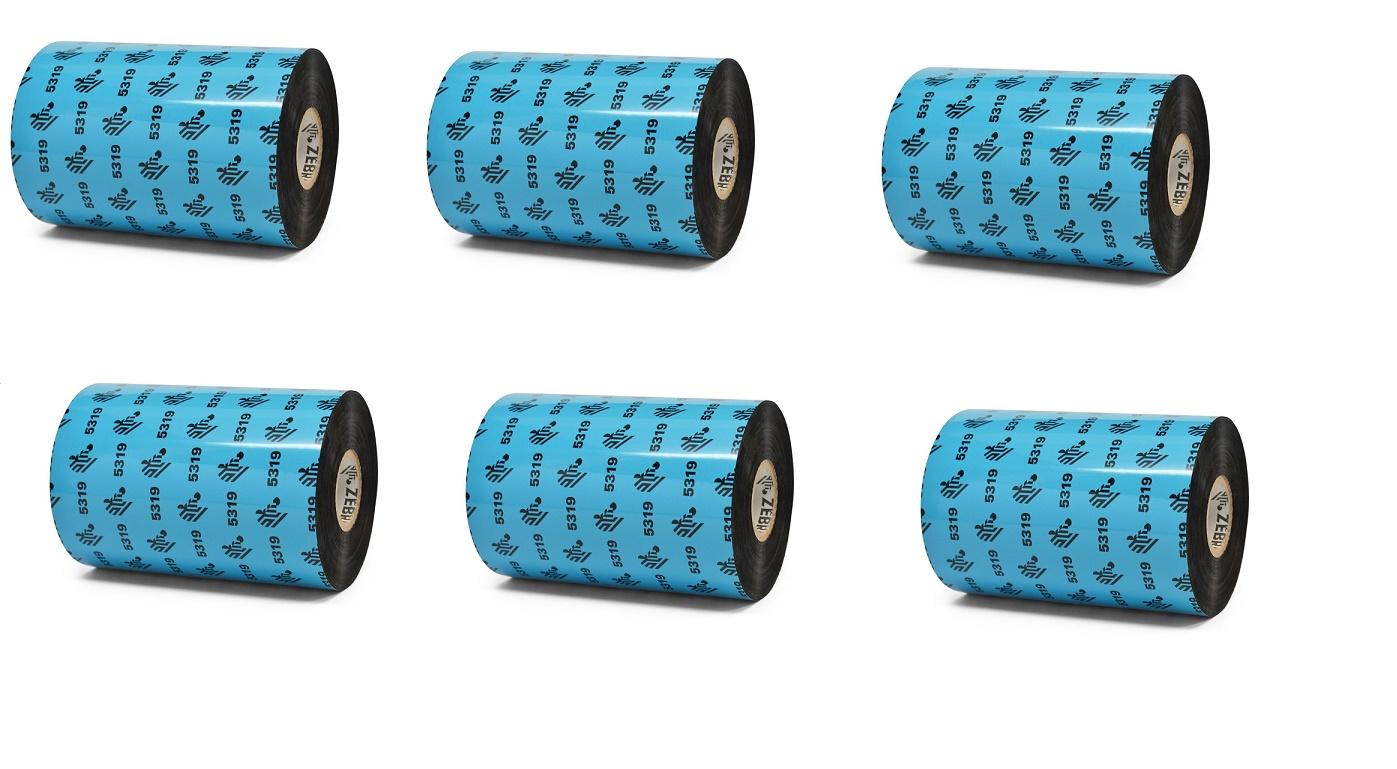 Zebra Genuine 5319 Wax 4.33x1476' Black Wax Ribbon 6-Pack 05319BK11045 GK420 Series 1 Core