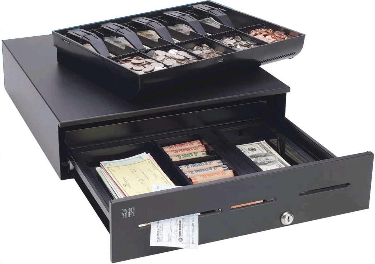 Media Plus Mmf 18x16 5xBill 5xCoin Stainless Steel Cash Drawer Black ADV-113B11321-04