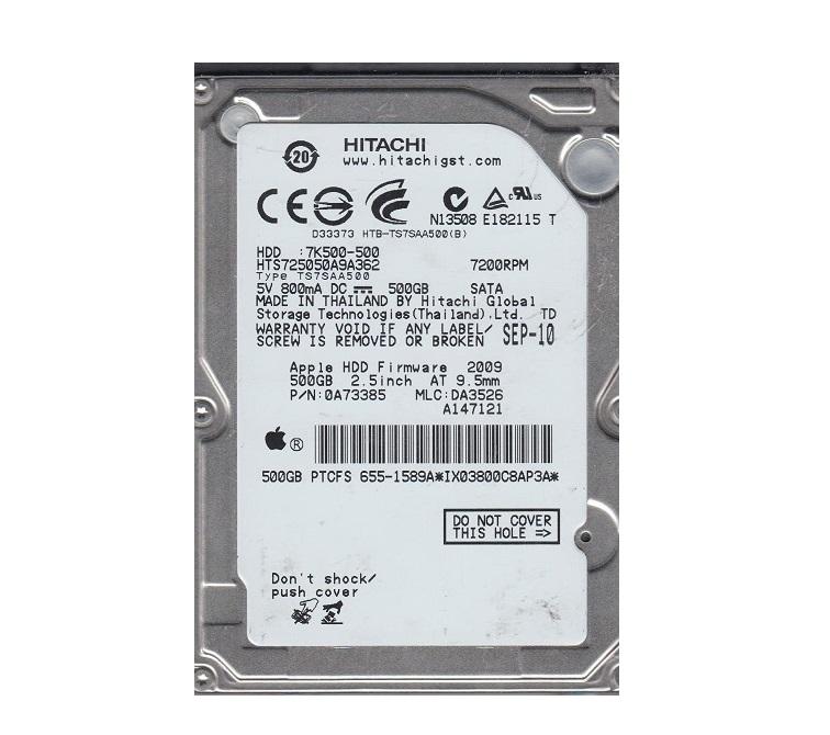 500GB SATA Hitachi Travelstar 7K500 7200RPM 16MB Cache 2.5 Internal Hard Drive HTS725050A9A362
