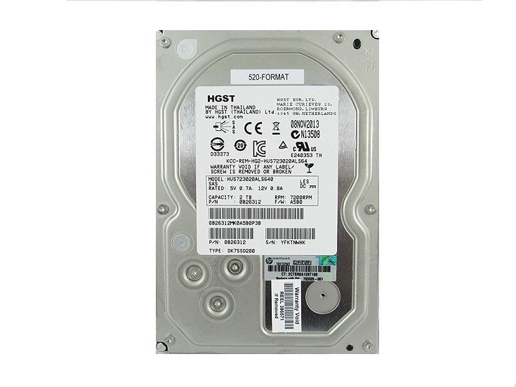2TB HP SAS 7200RPM 6Gbps Nearline Non Hot Swap 3.5 Internal Hard Drive 703329-001