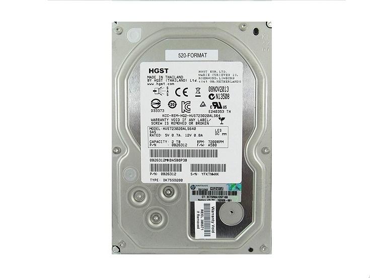2TB HGST SAS 7200RPM 6Gbps Nearline Non Hot Swap 3.5 Internal Hard Drive HUS724020ALS640