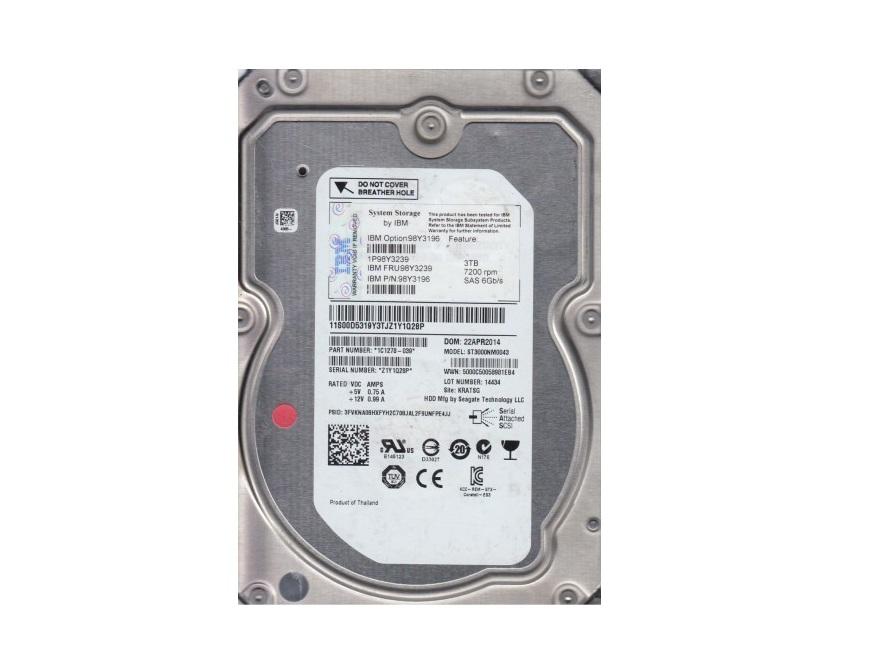 Seagate 3TB Ibm ST3000NM0043 ES.3 Sas 7200RPM 128MB 6GB/s Internal 3.5 Oem Hard Drive