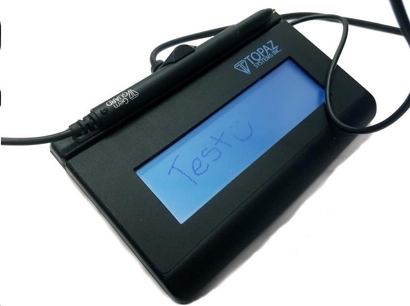 Topaz Systems Signaturegem T-L462 Electronic Signature Pad Backlit Lcd 1x5 Usb Active Pen T-LBK462-BSB-R