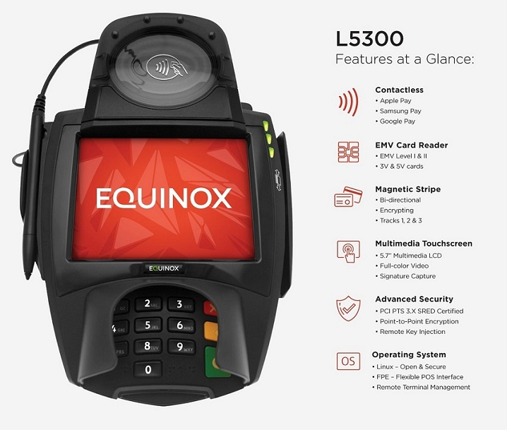 Equinox L5300s 5.7 Color LCD RS232 Powered USB Multilane Payment Terminal 010380-022E