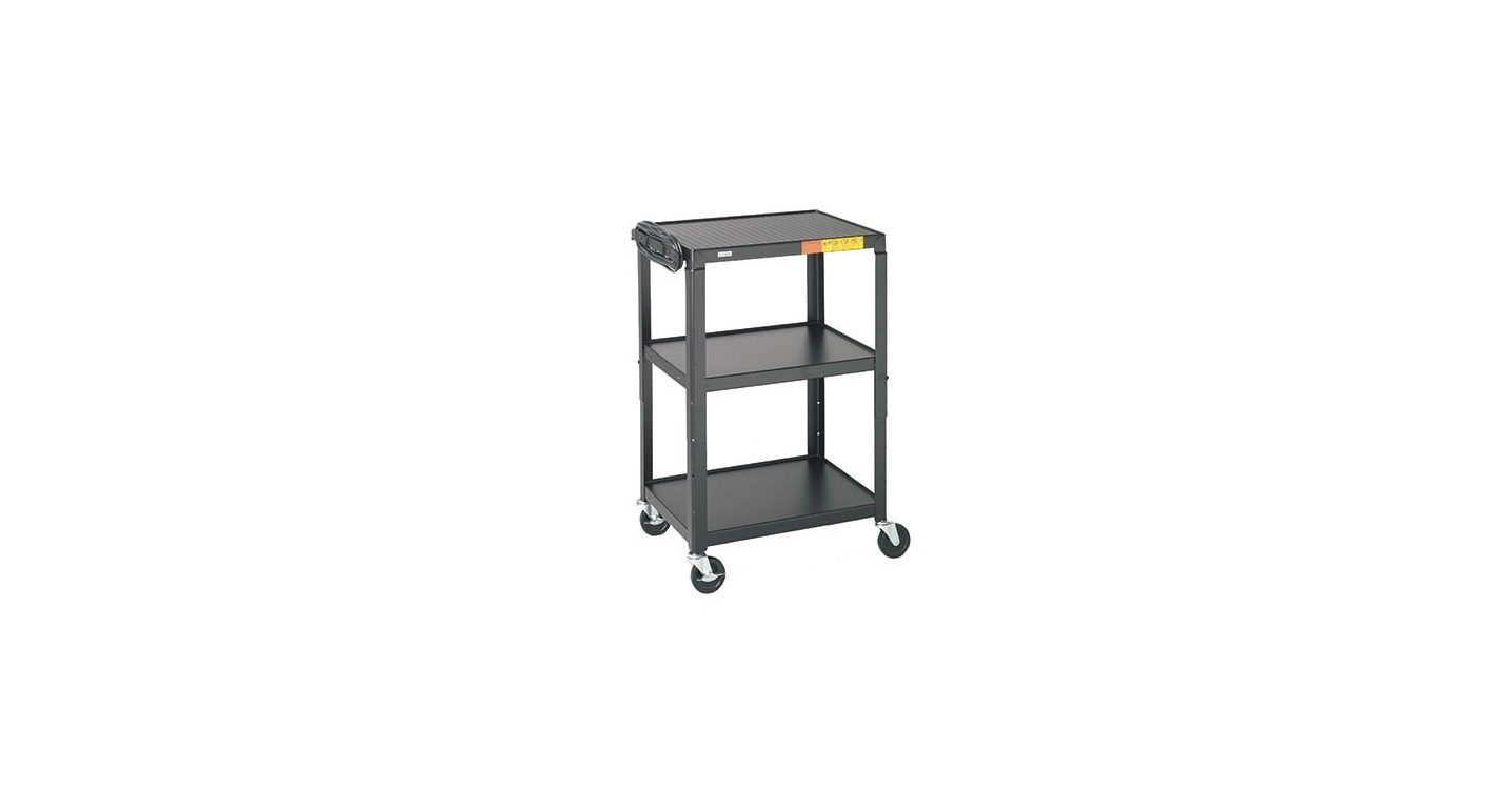 Bretford Adjustable AV Cart With 3 Shelves and 2-out Electrical Unit Black A2642-E5