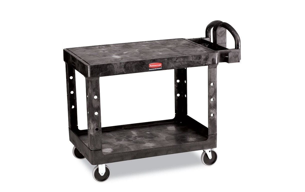 Rubbermaid Flat 2-Shelf Utility Cart Shelf 452500BK 25-1/4w X 44d 38-1/8h
