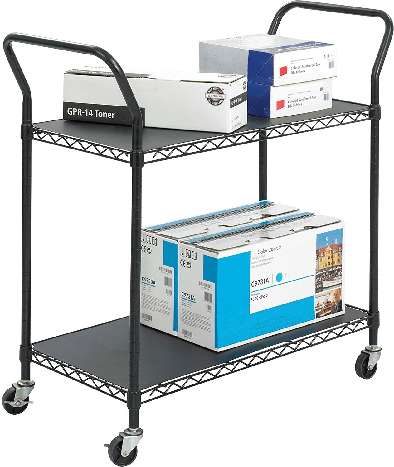 Safco 2 Shelves Wire Utility Cart 5337BL