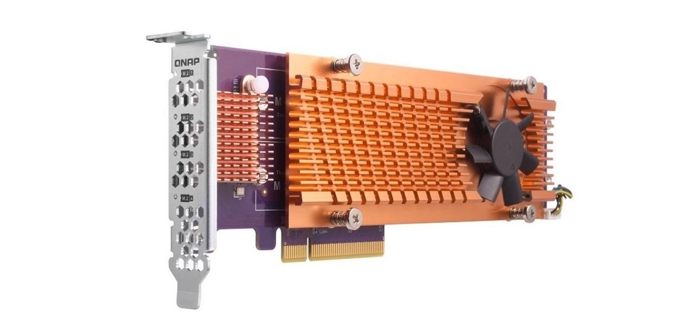 Qnap Quad M.2 2280 PCI-E Nvme SSD PCI-E 3.0 x4 Storage Controller Expansion Card QM2-4P-342