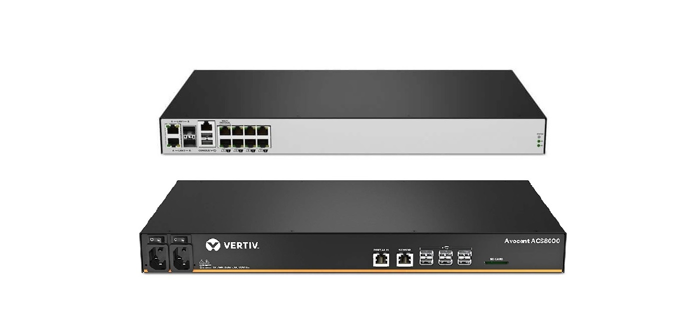 Avocent Vertiv ACS 8000 8-Ports Console Server Built-In Modem Dual Power Supply 1U ACS8008MDAC-404