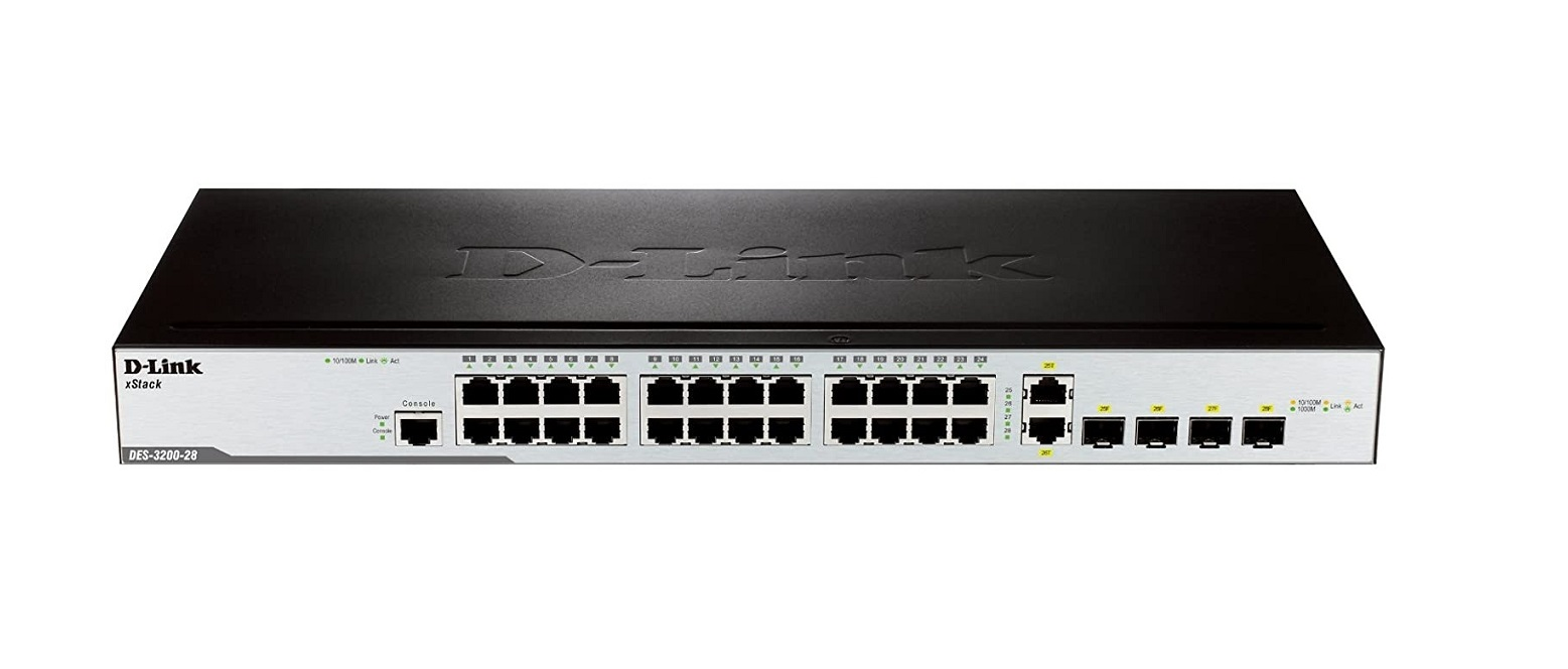 D-Link 24-Ports With 2x Sfp And Combo Ports Managed Switch DES-3200-28