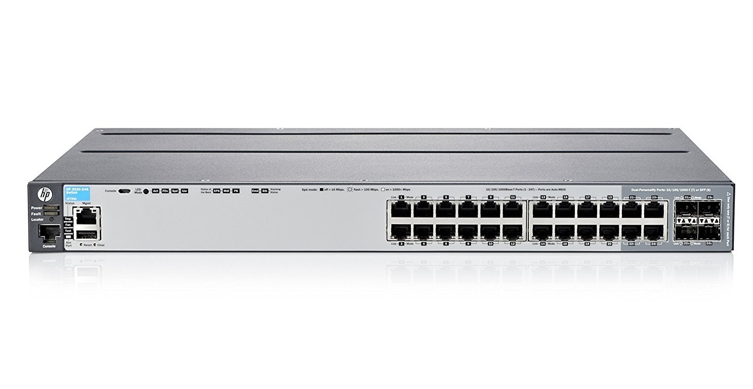 HP 2920-24G Switch 24-Ports Basic L3 Manageable 10/100/1000Base-T Rack-Mount J9726A#ABA