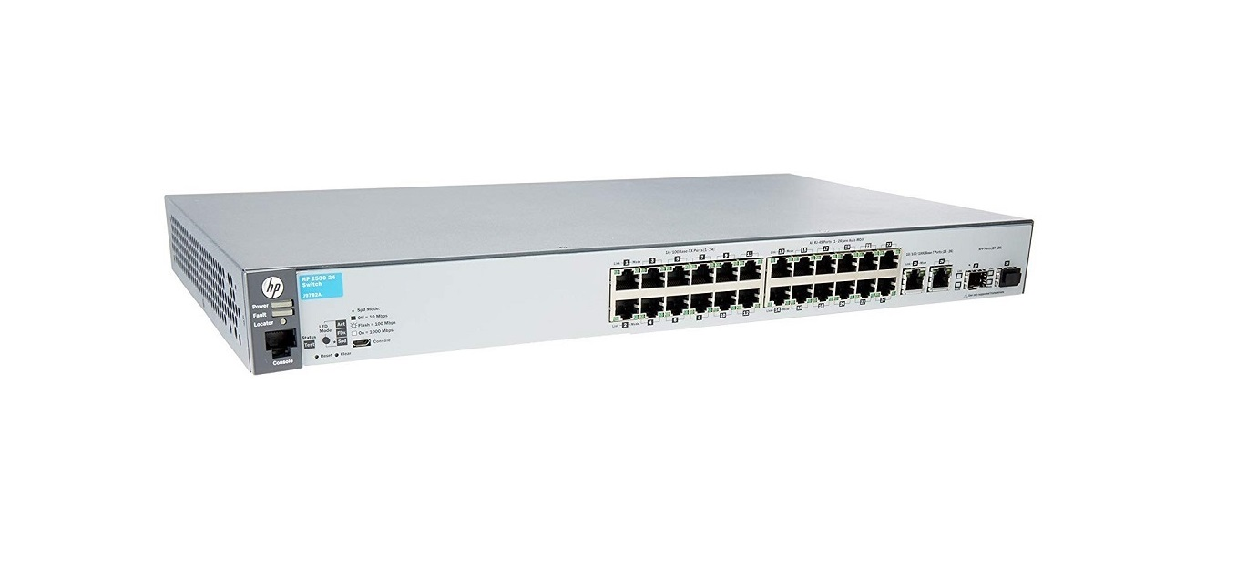 HP Aruba 2530-24 24-Ports 2x SFP (Free) 1U rack-mountable Switch J9782A#ABA