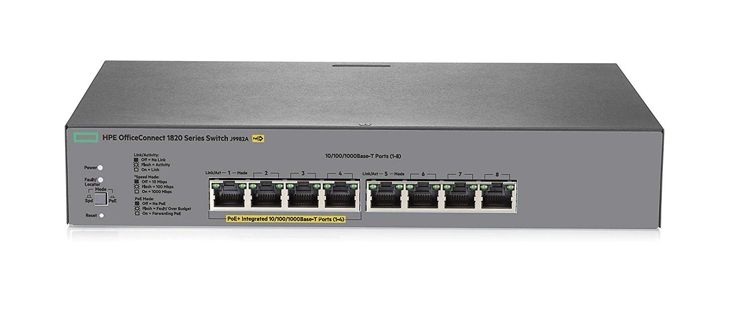 HP Aruba 1820-8G PoE+ 8-Ports 4x PoE+ Ports 4x Ethernet Ports Managed Switch J9982A#ABA