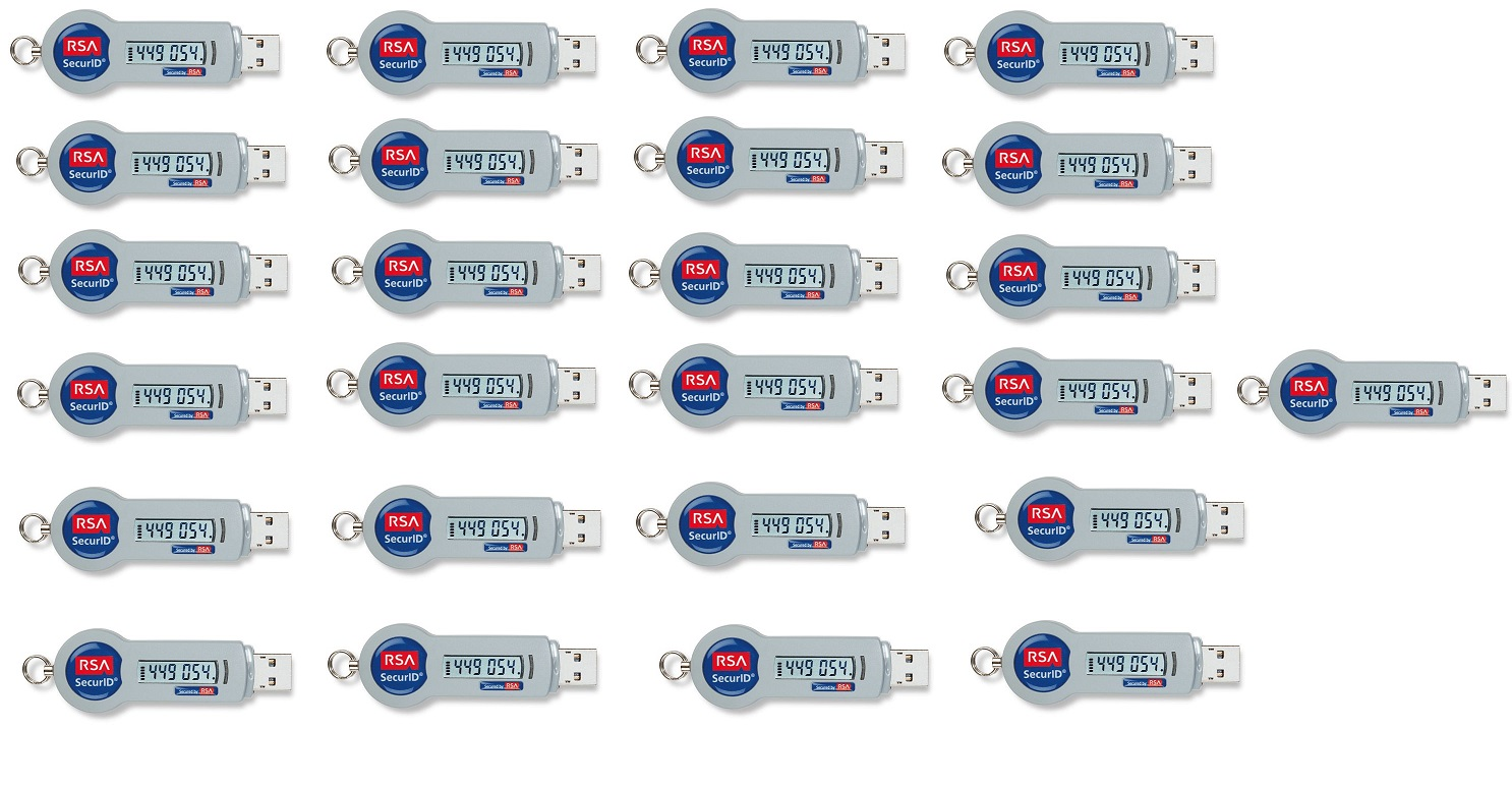 RSA SecurID 800 Authenticator USB Keyfob Token 25-Pack SID800-6-60-36-25