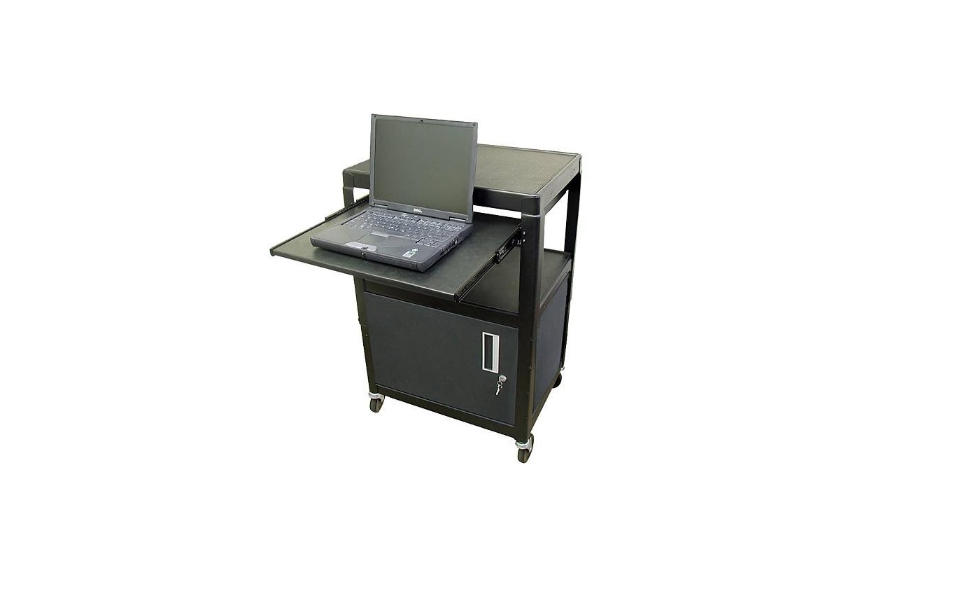 Hamiltonbuhl SVCAB4226E Height-Adjustable Steel Cart With Security Cabinet and Laptop Shelf