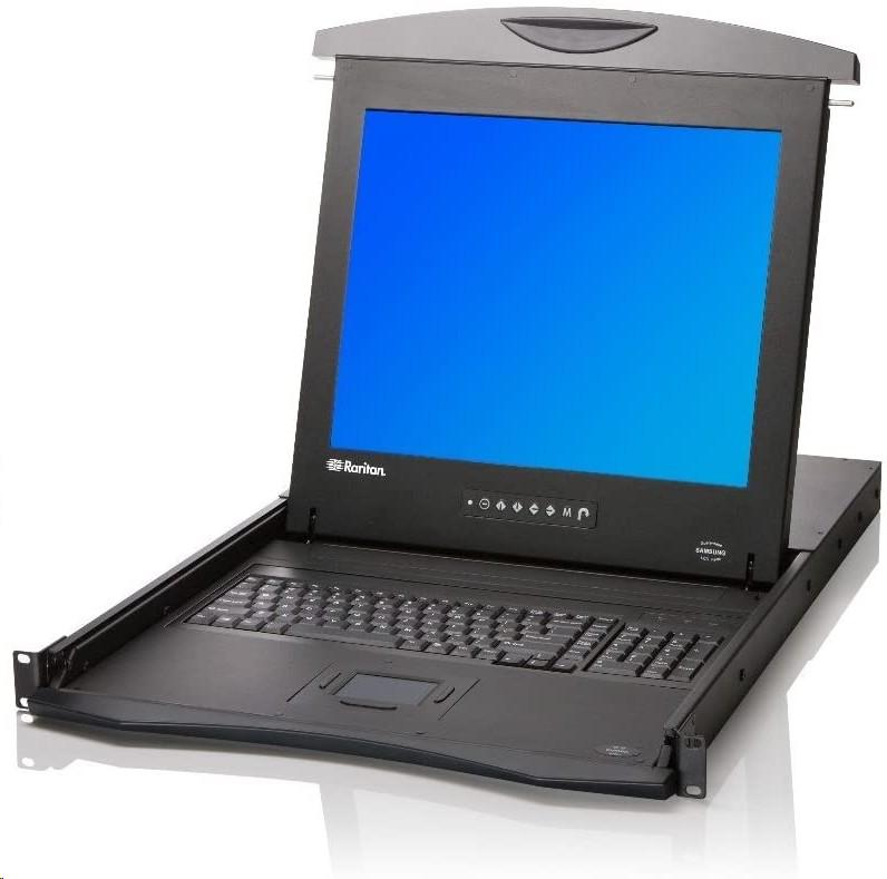 17 Raritan Console Drawer FullHD 1080P 1920x1080 DVI VGA USB PS/2 1U Rack Mount LED LCD T1700LED T1700-LED