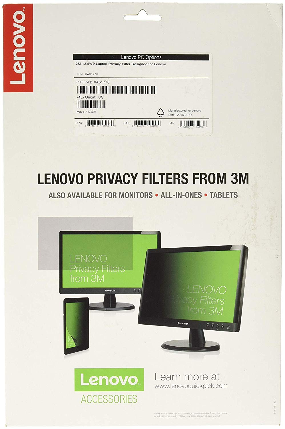Lenovo 0A61770 Privacy Filter For 12.5 Laptop