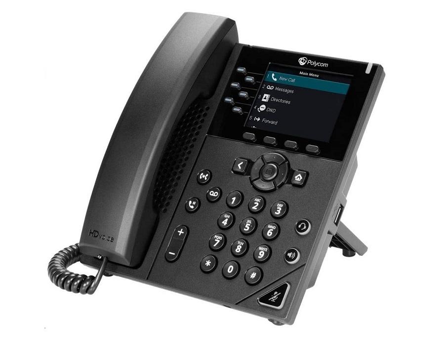 Polycom Vvx 350 Microsoft Skype For Business Edition 6-Line Ip Phone 2200-48830-019