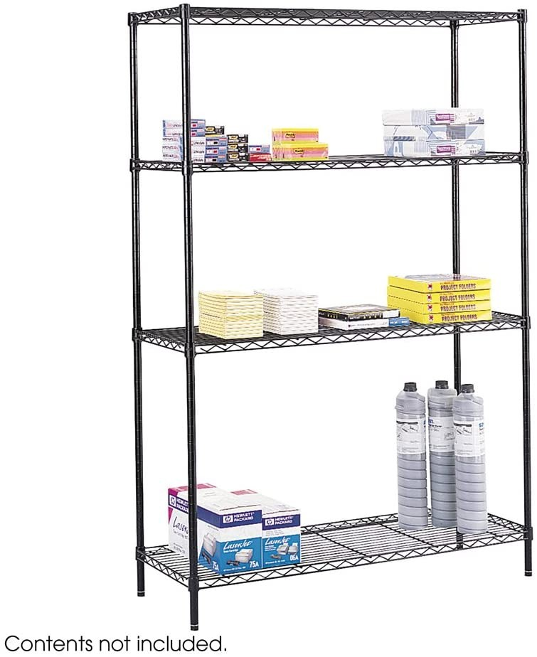 Safco Office Furniture Commercial Wire Shelving 48x18x72 Shelf Black 5241BL