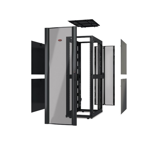 APC NetShelter SX 48U Deep Enclosure With Roof (No Doors or Sides) Black Rack Cabinet AR3307X617