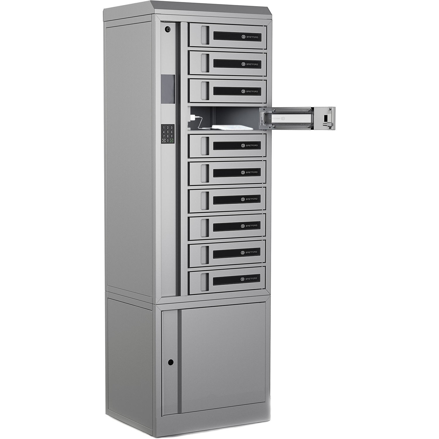 Bretford Techguard Connect 10-Bay Charging Locker With RFID & Pin AC TCLAKS100EF11